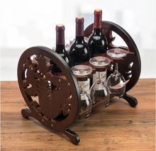 цена на Creative Round wood wine rack European fashion bar wine rack wine glass holder