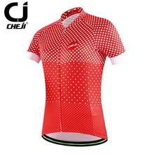 CHEJI Red Cycle Bike Jersey Women's Large Cycling Jersey Ladies Bicycle Shirts S-XXL