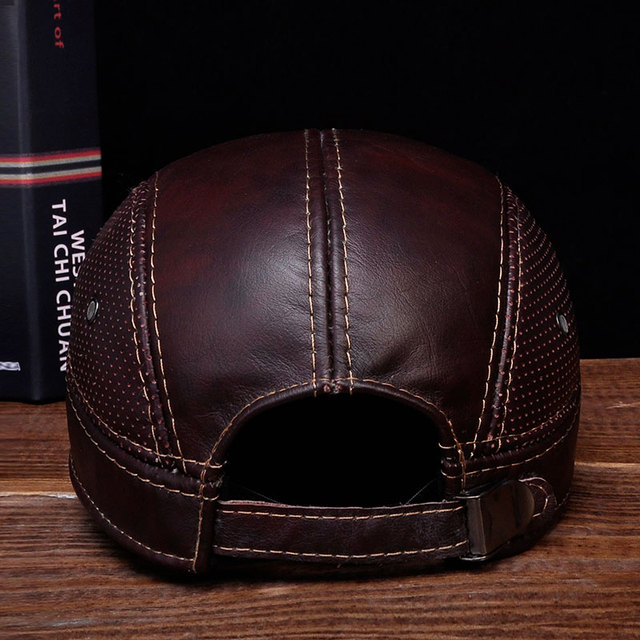 HL033 Mens Leather Baseball Ball Cap Hat Biker Trucker Sports