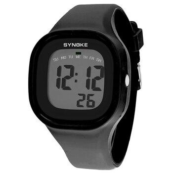 Reloj deportivo a prueba de agua 30M para hombre y mujer, relojes de pulsera digitales Unisex para amantes, reloj de pulsera con luz de LED NEGRO, reloj despertador Digital