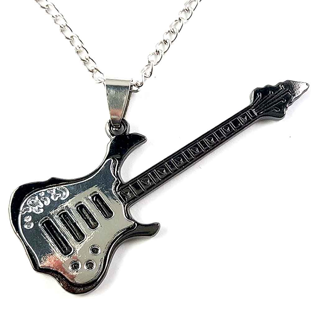 2016 <font><b>Guitar</b></font> <font><b>steel</b></font> pendant with chain 78cm <font><b>necklace</b></font> steampunk rock for mens womens stainless <font><b>steel</b></font> 1pcs charm punk summer style image