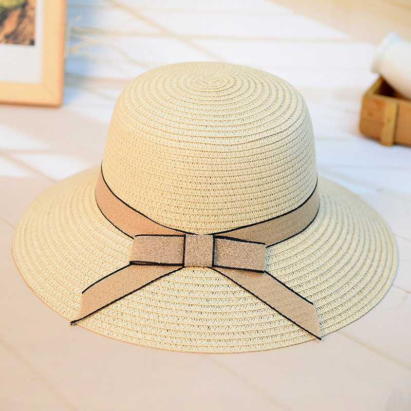 789690049bb Fashion Women s Casual Sun Hat Straw DIY Woven Beach Hat Summer Hats For Women  Ladies Straw Hats Snapback Bow Tie Ribbon Round -in Sun Hats from Apparel  ...