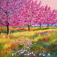 High quality Oil painting Canvas Reproductions Peach trees in spring By Jean Marc Janiaczyk hand painted