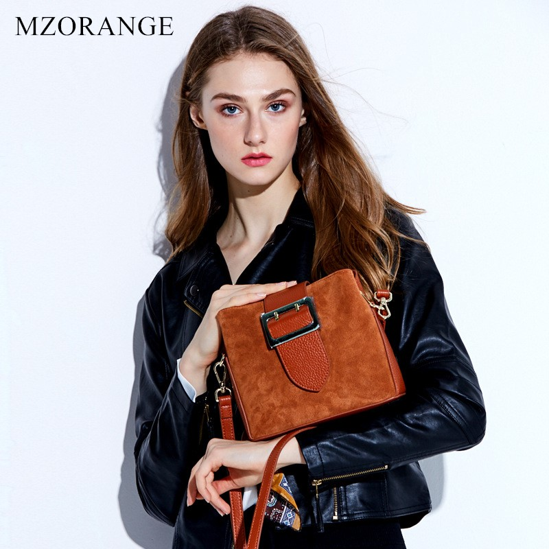 MZORANGE Brand Genuine Leather Women Handbags Vintage Suede matte leather Flap Shoulder Bags Small Messenger Bags Bucket bag women messenger bags genuine leather single shoulder bags solid small flap women handbags mini classic box