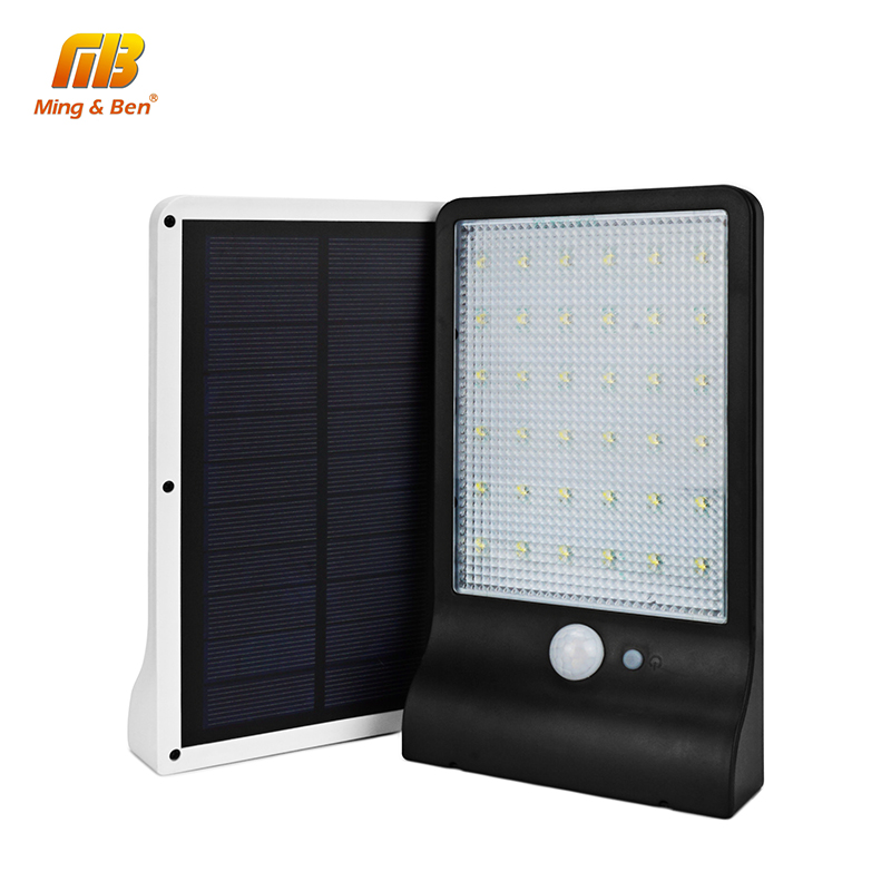 [MingBen]LED Solar Light 36LEDS SMD2835 LED Solar Panels Power PIR Motion Sensor IP65 High Brightness Wall Lamp Cold White 3Mode
