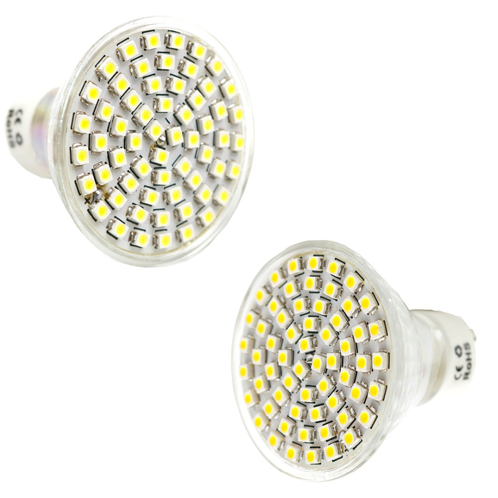 AC 220V LED Spotlight SMD 3528 60 Leds spot light GU10 White/Warm White High Brightness Lamp spotlight DA