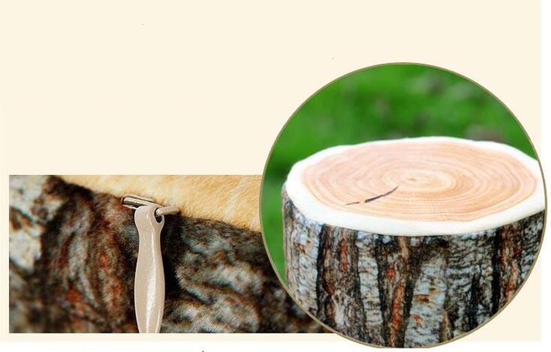 Simulation Log Texture Cushion Big Willow Tree Pier Simulation Removable Washable Cushion Creative Sofa Pillow Home Decorative