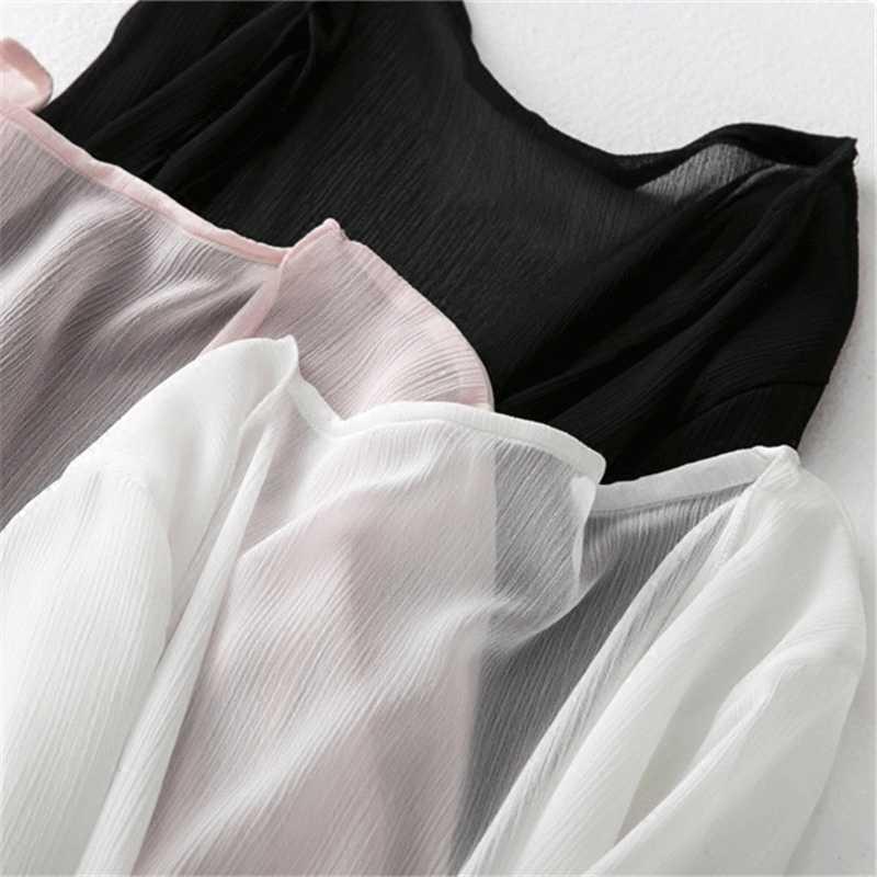 Rylanguage 夏シフォンブラウスピンクカーディガン太陽保護服ロングブラウスビーチ白人女性ファッショントップス Feminino
