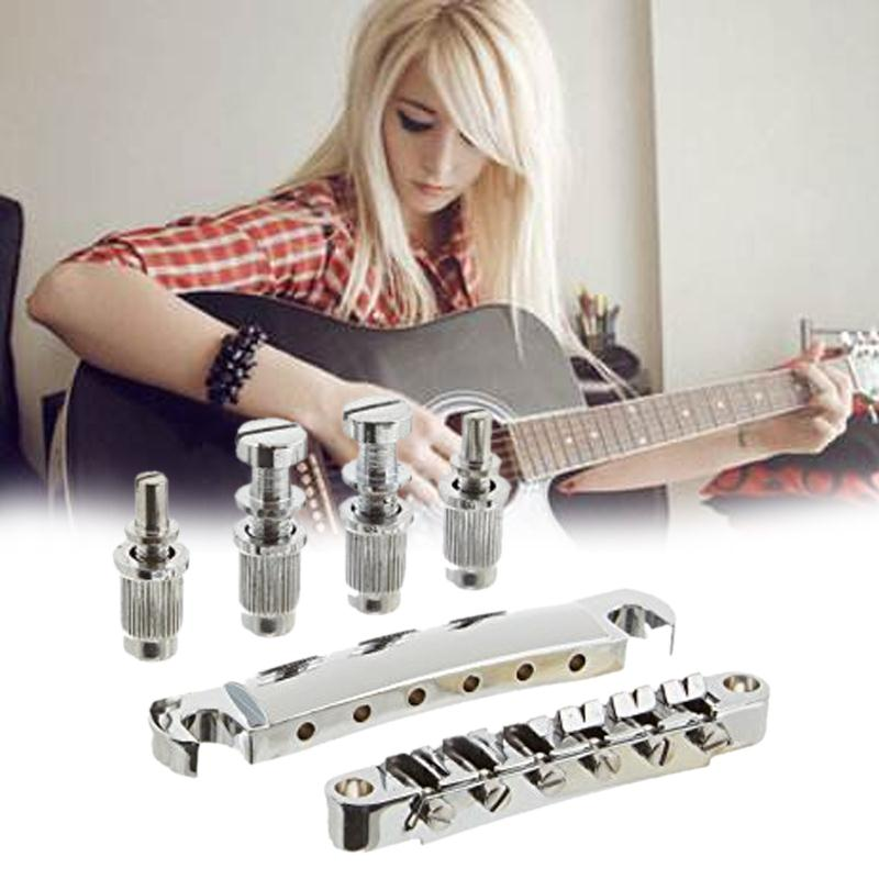 Chrome Guitar Tune-O-matic Bridge Tailpiece Tail For LP Style Set kaish lp tune o matic roller saddle bridge tailpiece stopbar set for lp gold