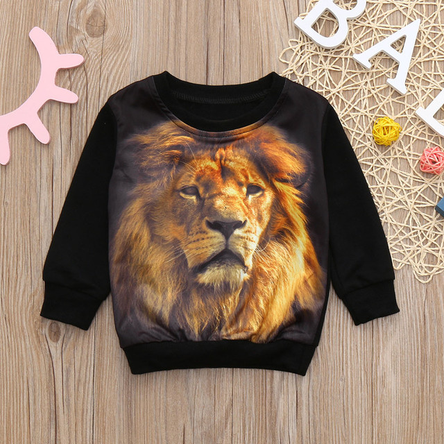 Boy's Long Sleeve Lion Printed Sweatshirt