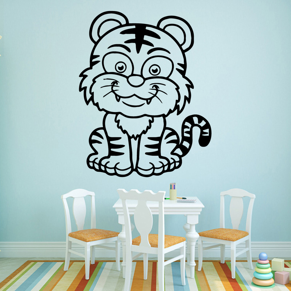 Modern cute tiger Wall Sticker Home Decoration Accessories Waterproof Decals