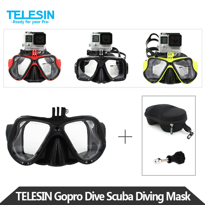 TELESIN Scuba Diving Mask Snorkel Swim Googles Glasses with Storage Case for GoPro Hero 5 4 3 2, Xiaomi YI 4K, 4K+ Accessories