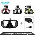 Telesin gopro mergulho máscara de mergulho snorkel nadar googles óculos com caso de armazenamento para go pro hero 5 4 3, xiaomi acessórios da câmera