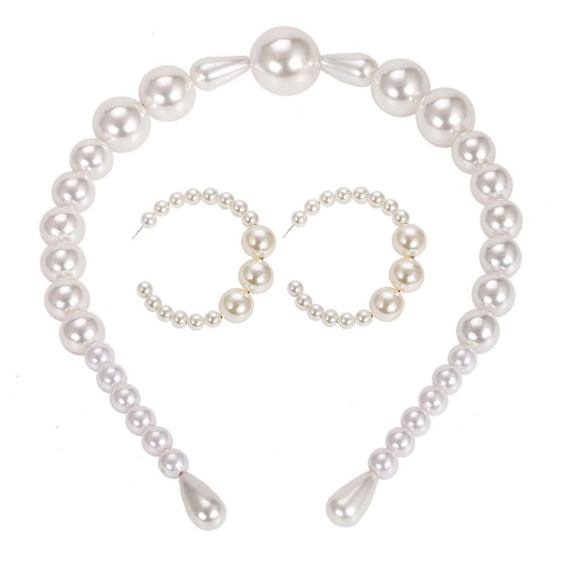 Simulated Pearl Headband Earrings Jewelry Set For Women Wedding Party Jewelry