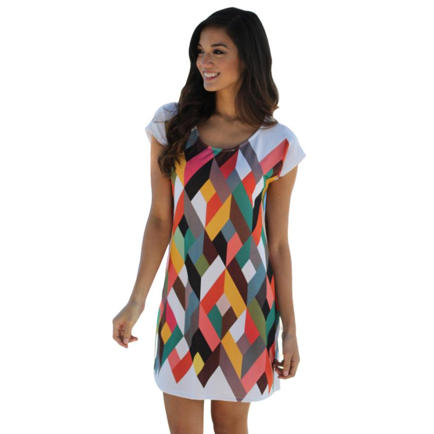 Casual mujeres summer dress  nuevas mujeres sexy mini dress poliéster o-cuello d