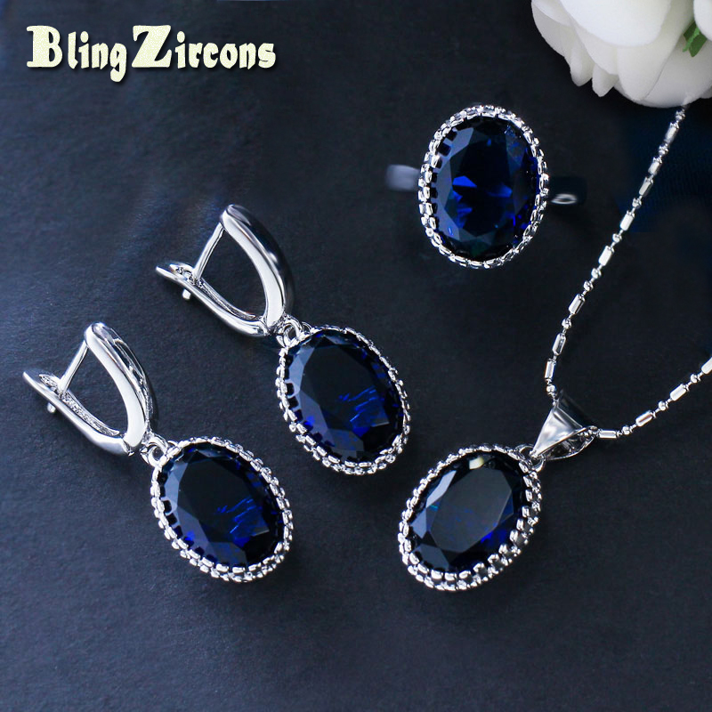 цена на BlingZircons Oval Dark Blue Shining Stone Silver 925 Jewelry Cubic Zirconia Necklace Earrings Ring Sets Xmas New Year Gift JS094