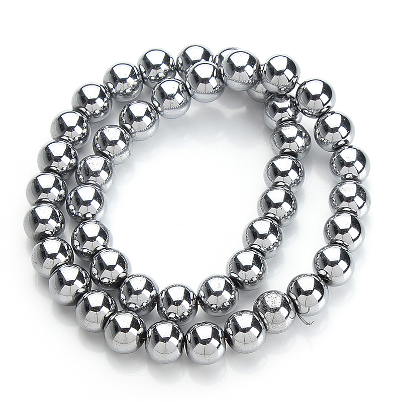 40cm/strand Round Silver Color Natural Stone Hematite Loose Spacer Beads 6mm 8mm 10mm for Bracelets Jewelry Making Findings