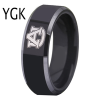 Free Shipping Customs Engraving Ring Hot Sales 8MM Black With Shiny Edges Auburn Tigers Design Tungsten