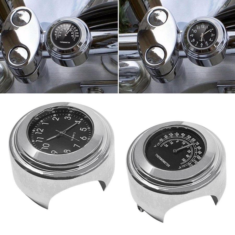 2PCS/Set Universal Waterproof 7/8 Motorcycle Handlebar Black Dial Clock Watch Temp Thermometer For YAMAHA Harley Free Shipping 20