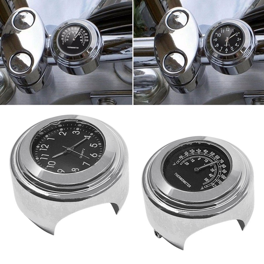 2PCS/Set Universal Waterproof 7/8 Motorcycle Handlebar Black Dial Clock Watch Temp Thermometer For YAMAHA Harley Free Shipping 20