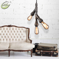 3 Heads Loft Vintage Industrial Water Pipe Shape Pendant Light E27 Brown Iron Indoor Lamp Home