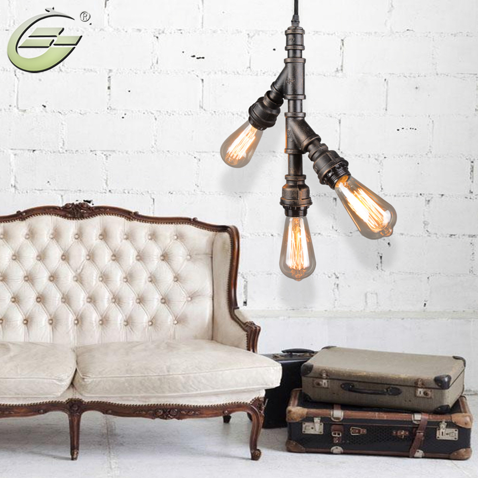 3 Heads Loft Vintage Industrial Water Pipe Shape Pendant Light E27 Brown Iron Indoor Lamp Home Decoration for Living Room Hotel