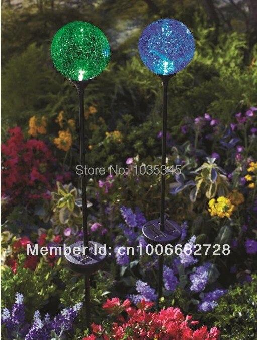 Wholesale SOLAR LED Crackle Glass Ball Garden Path light Light Stake Garden lights free shipping