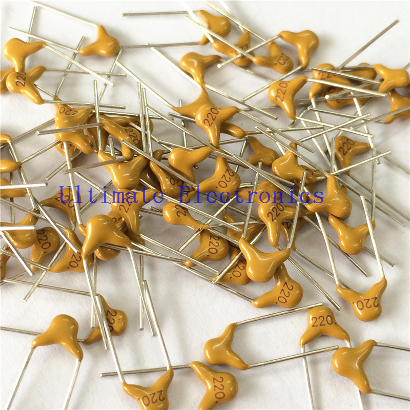 100pcs/lot  Multilayer Ceramic Capacitor 220 50V 22pF 220J P=5.08mm