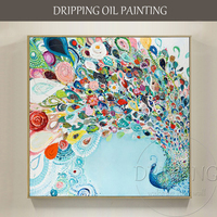 Artist Hand painted High Quality Beautiful Peacock Oil Painting on Canvas Dancing Peacock Oil Painting for Wall Decoration