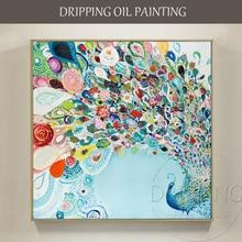 Artista dipinto A mano di Alta Qualità Bella Pittura A Olio Del Pavone su Tela di Danza Del Pavone Pittura A Olio per la Decorazione Della Parete