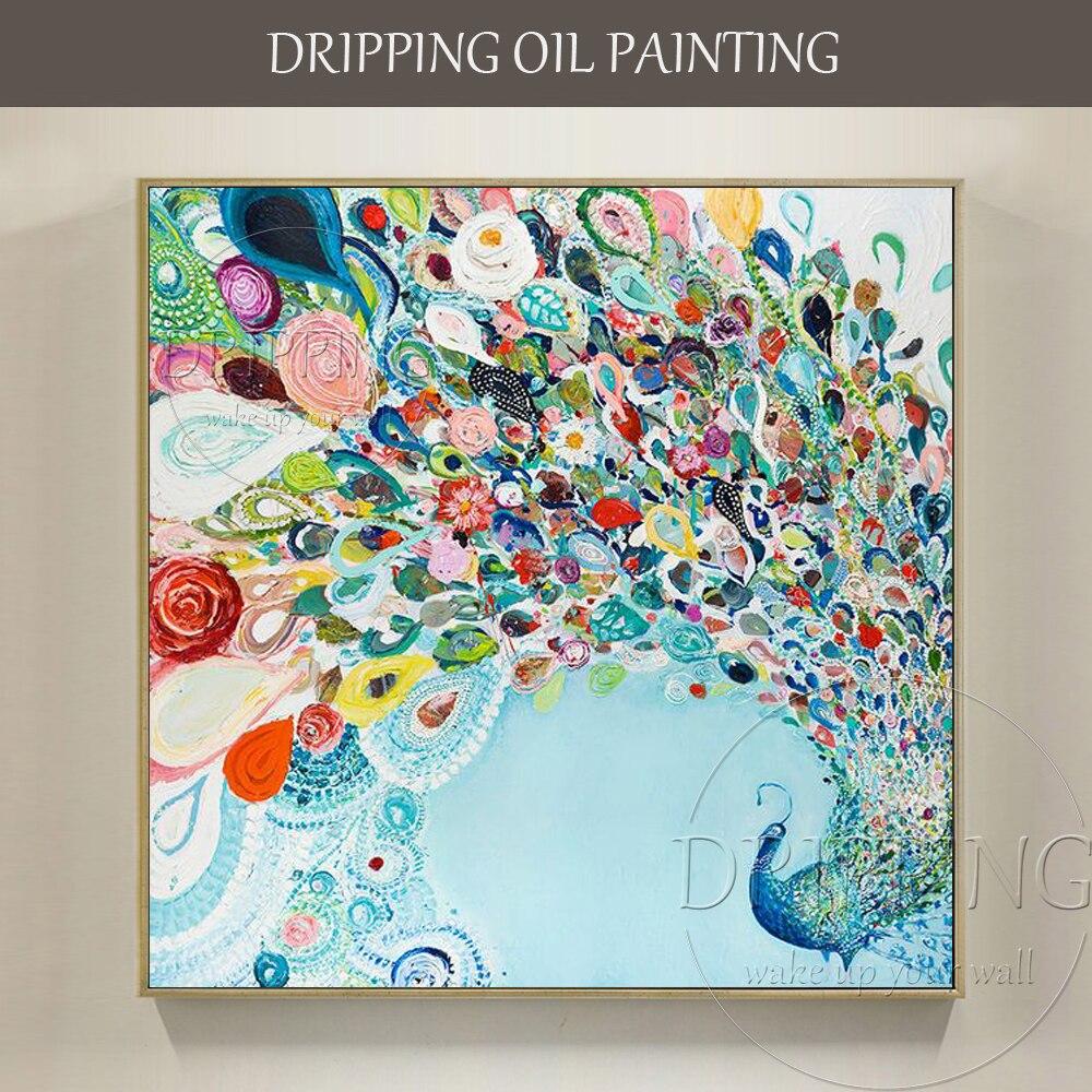 Artiste peint à la main de haute qualité belle peinture à l'huile de paon sur toile danse paon peinture à l'huile pour décoration murale