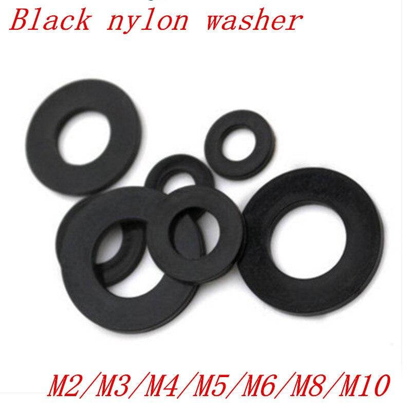 100 шт./лот m2 M2.5 M3 M4 M5 M6 M8 M10 черный Пластик нейлон покрытием шайба прокладка
