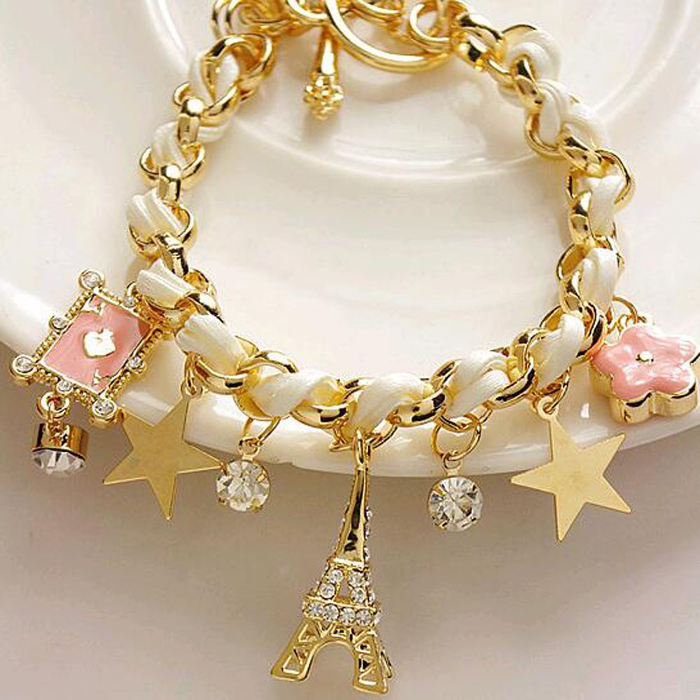 Vienkim New Hot sell  Fashion Jewelry Multielement Gold Chain Leather Rope Crystal Handmade Bracelet Eiffel Tower Star Pendant 4