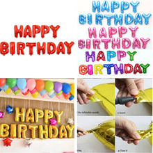 13PCS Multicolor Letters HAPPY BIRTHDAY Foil Balloons Silver Gold Blue Pink Children Birthday Ballons Party Decoration Supplies