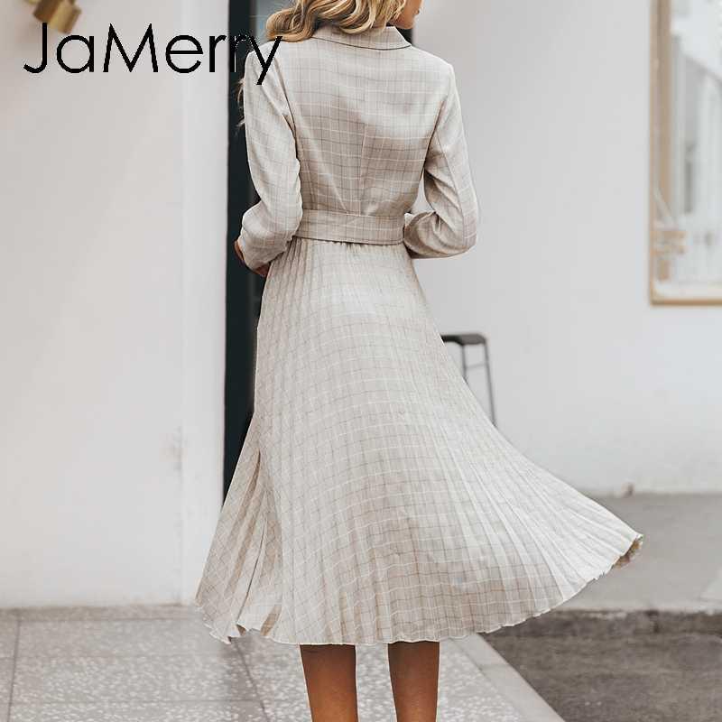 JaMerry винтажное клетчатое женское платье на пуговицах элегантный Блейзер Плиссированное ТРАПЕЦИЕВИДНОЕ офисное женское платье с длинным рукавом Одежда для вечеринки