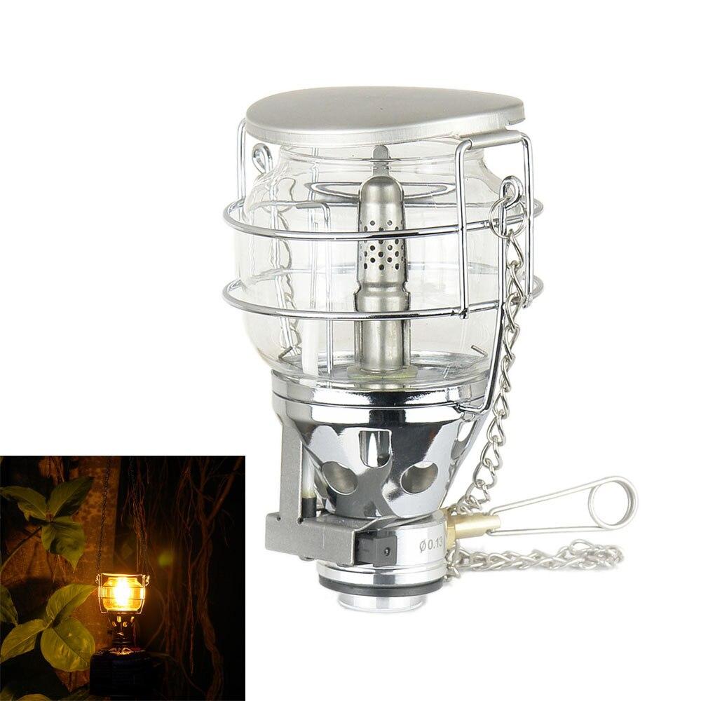 Mini 80lux Outdoor Camping Laterne Tragbare Aluminium Gas Licht Zelt Lampe Taschenlampe Hängen Glas Lampe Schornstein Butan Für Reise Tragbare Laternen Tragbare Beleuchtung