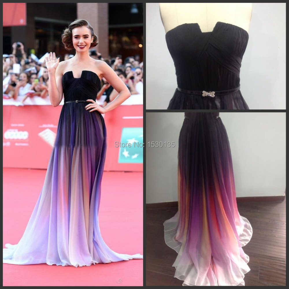 Vestidos de Novia Chiffon Celebrity Dress Strapless Gradient Ombre ...