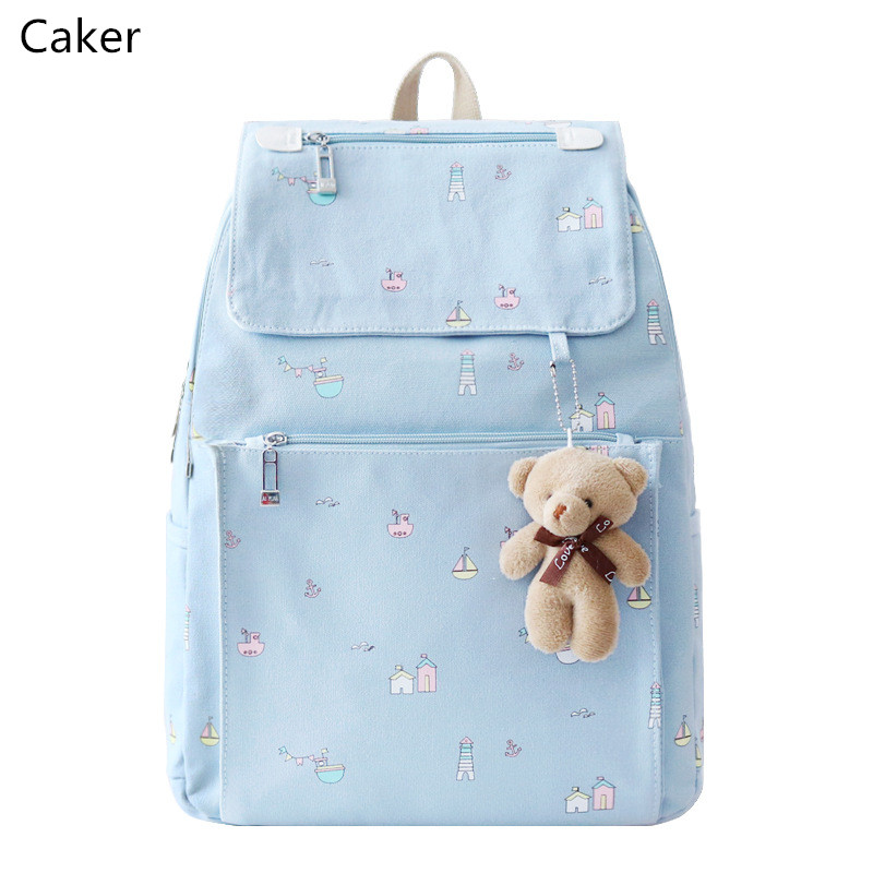 Caker 2017 Women Blue Pink Backpack Preppy Style Canvas Shoulder Bags For Teenagers Cartoon Black Travel