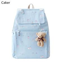 Caker 2017 Для женщин синий розовый рюкзак элегантный дизайн холст Сумки на плечо для подростков мультфильм черный Путешествия школьный рюкзак 2017