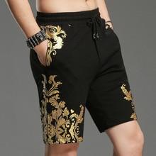 Летние мужские повседневные шорты, хлопковые Позолоченные с цветочным принтом, прямые мужские спортивные штаны, корейские модные короткие брюки