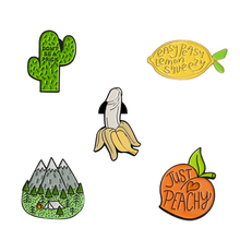 Fresh Peach Banana Lemon Cactus Forest Mountain Enamel Pin Fruit Plants Travel Adventure Brooches for Women Men Badge Collection(China)
