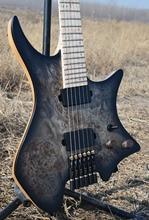 2019 nouveau NK guitare sans tête Fanned Fret guitares noir oeil peuplier placage haut flamme érable cou guitare noir matériel livraison gratuite