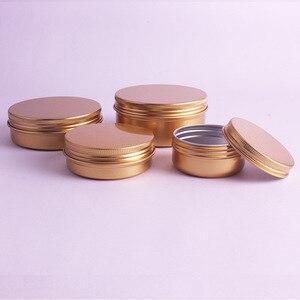 Image 3 - 20 stks/partij 50 ml, 60 ml, 100 ml, 150 ml Goud Aluminium Crème Potten Tins Metalen Cosmetische Jar Cosmetische Verpakkingen Containers Lipstick Pot