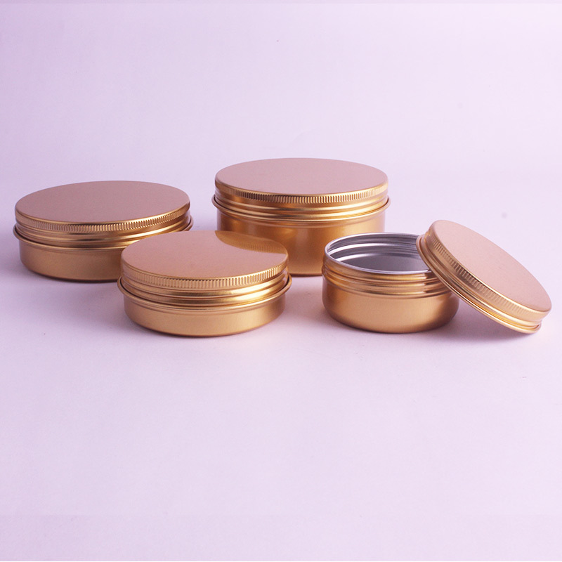 Image 3 - 20pcs/lot 50ml,60ml,100ml,150ml Gold Aluminum Cream Jars Tins Metal Cosmetic Jar Cosmetic Packaging Containers Lipstick Pot-in Refillable Bottles from Beauty & Health