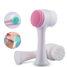 Double Sided Face Washing Brush Portable Silicone Cleansing Massage Facial Care Tool