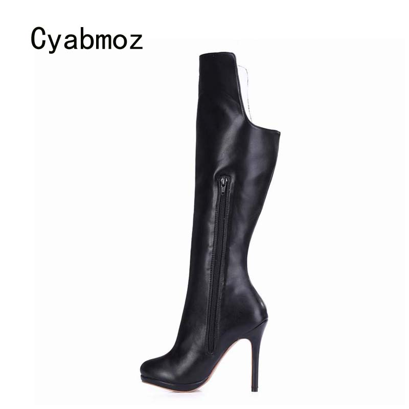 Cyabmoz Women Winter boots Snow Shoes Woman High heels Platform Over the knee Long Zapatos botas Mujer invierno Plus size 43 2017 fashion winter platform boots knee high heels women shoes woman zapatillas botas zapatos mujer zip for ladies party shoes