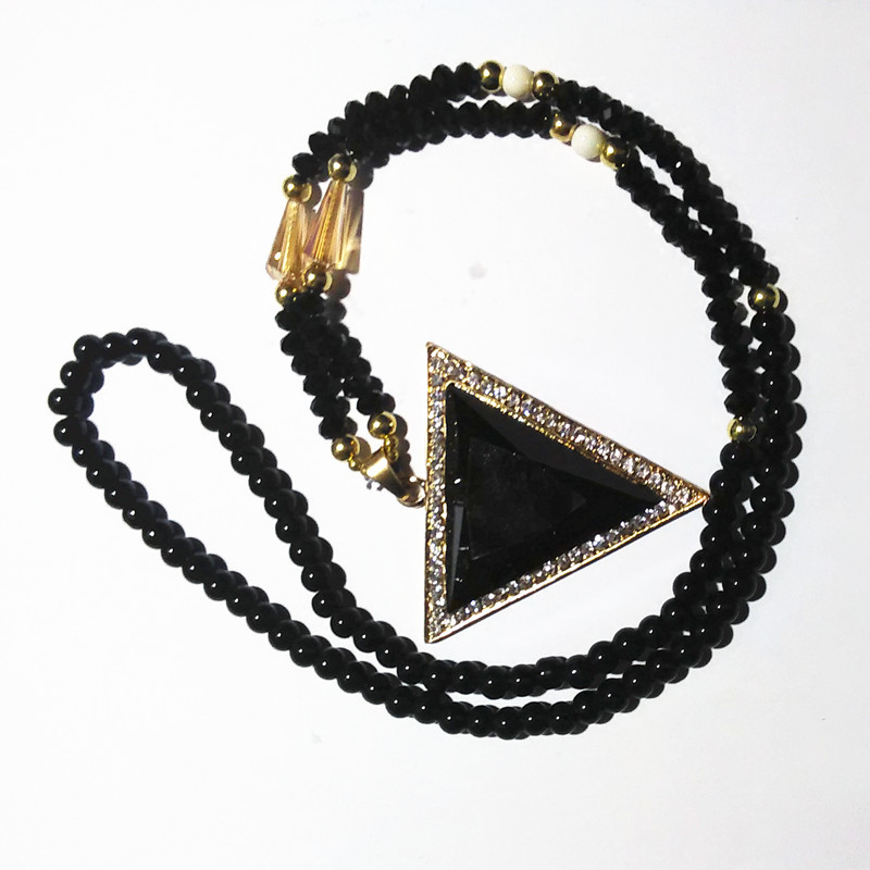 Fashion Black Crystal Triangle Design Long Necklaces Women Ladies ...