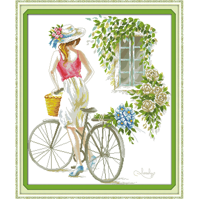 Bicycle girl  Chinese cross stitch kits  Ecological cotton clear stamped printed 14CT 11CT DIY Christmas gift wedding decorationBicycle girl  Chinese cross stitch kits  Ecological cotton clear stamped printed 14CT 11CT DIY Christmas gift wedding decoration