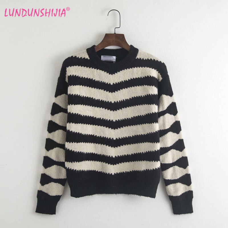 LUNDUNSHIJIA 2018 New Arrival Autumn Vintage Women Knitted Sweater Zebra  Striped Sweater Ladies O neck Pullover Sweater Tops-in Pullovers from  Women s ... d591ed29c3fb