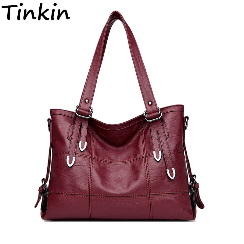 Tinkin Casual Patchwork Women Shoulder Bag Large Vintage Femal Handbags Tote Large Hobos Bag Crossbody Bags Luxury Bolsa Femini